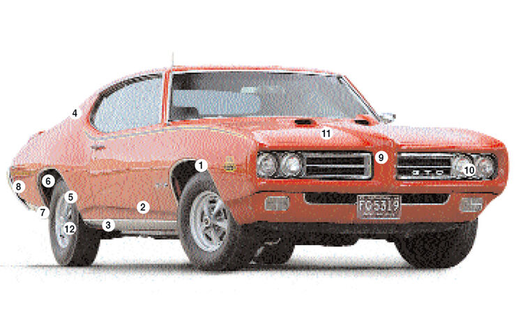 Orangener Pontiac GTO