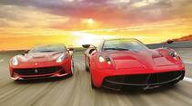 Pagani Huayra, Ferrari F12 Berlinetta, Frontansicht, Abendstimmung