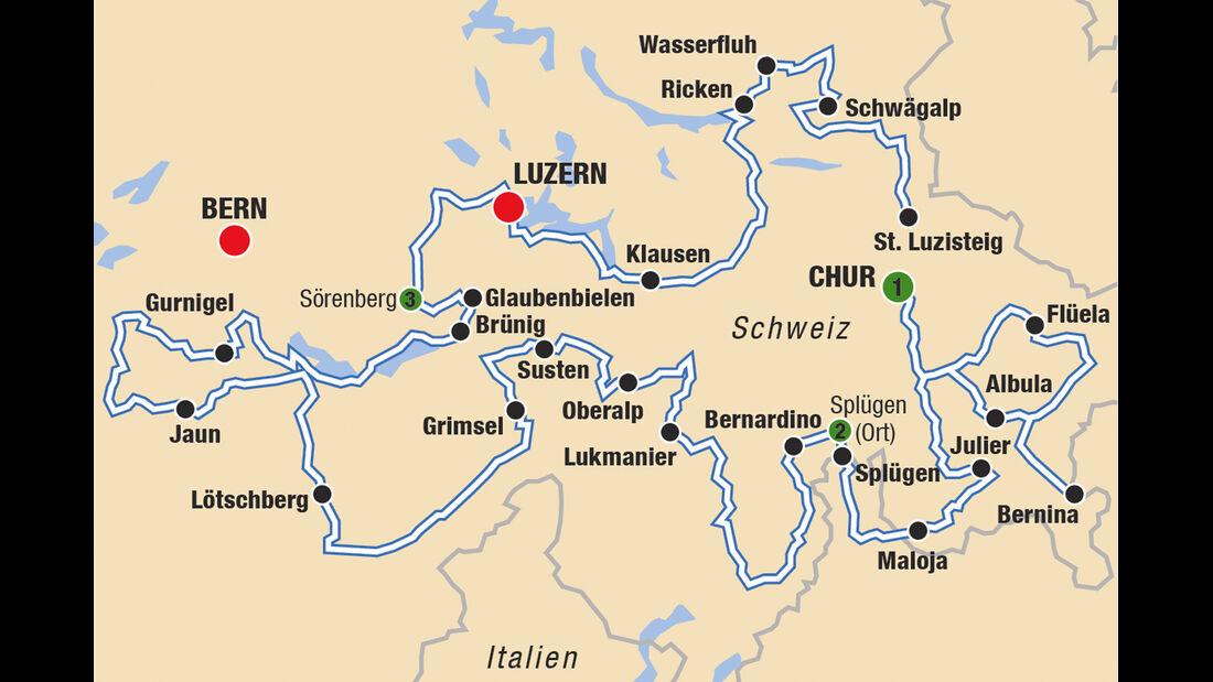 Passstraßen, Plan, Karte