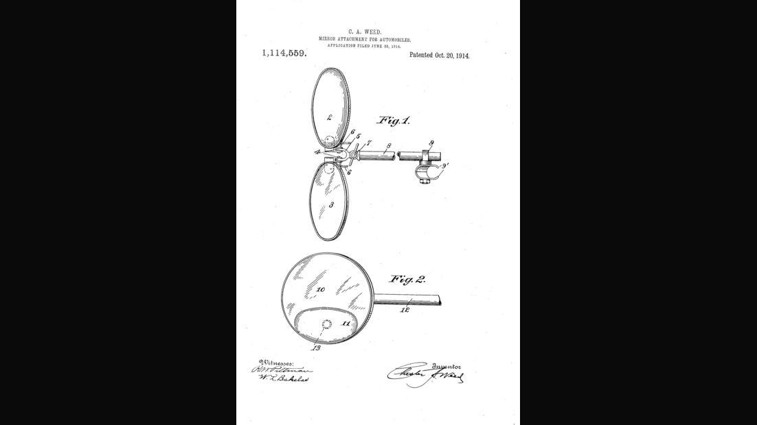 Patentzeichnung, Rückspiegel, 1914, Weed, 01/2016