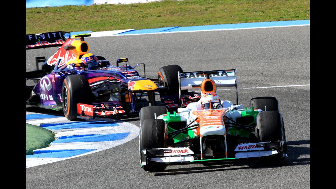 Paul di Resta, Force India, Mark Webber, Red Bull, Formel 1-Test, Jerez, 6.2.2013