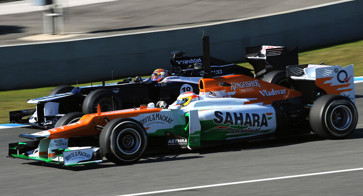Paul di Resta (Force India) & Pastor Maldonado (Williams) - F1-Test Jerez 2012