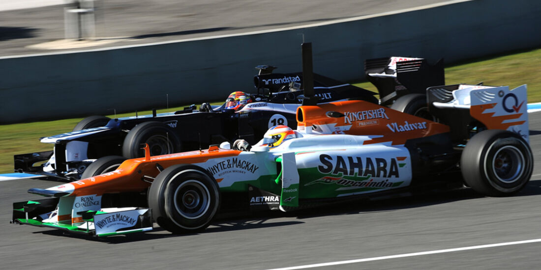Paul di Resta (Force India) & Pastor Maldonado (Williams) - F1-Test Jerez 2012