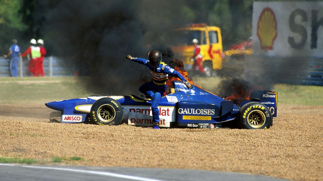 Pedro Diniz - Feuer am Ligier