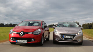 Peugeot 208 82 Vti, Renault Clio TCe 90, Frontansicht