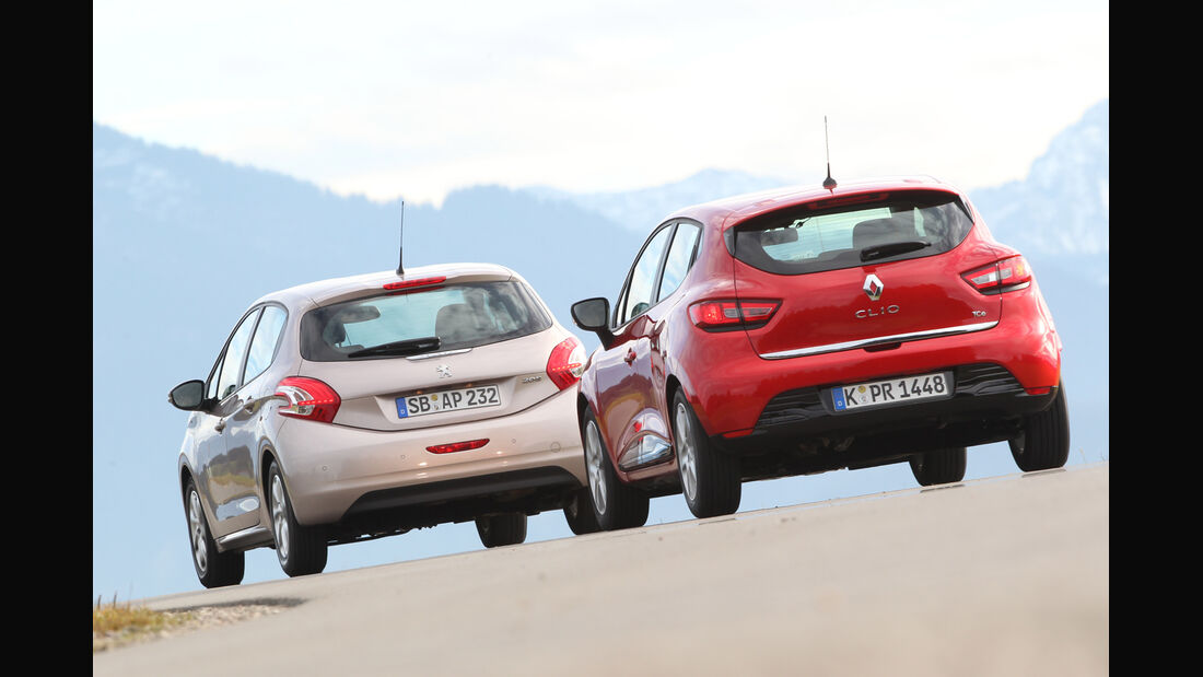 Peugeot 208 82 Vti, Renault Clio TCe 90, Heckansicht