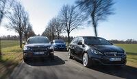 Peugeot 308 GT, Citroën DS4, Renault Mégane, Frontansicht