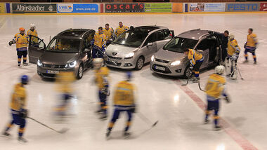 Peugeot 5008, Ford Grand C-Max, VW Touran, Kompaktvans, Eishockey