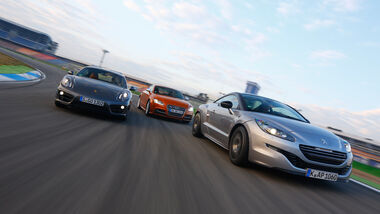 Peugeot RCZ R, Audi TTS, Porsche Cayman, Frontansicht