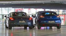 Peugeot RCZ und Renault Mégane Coupé Rückansicht