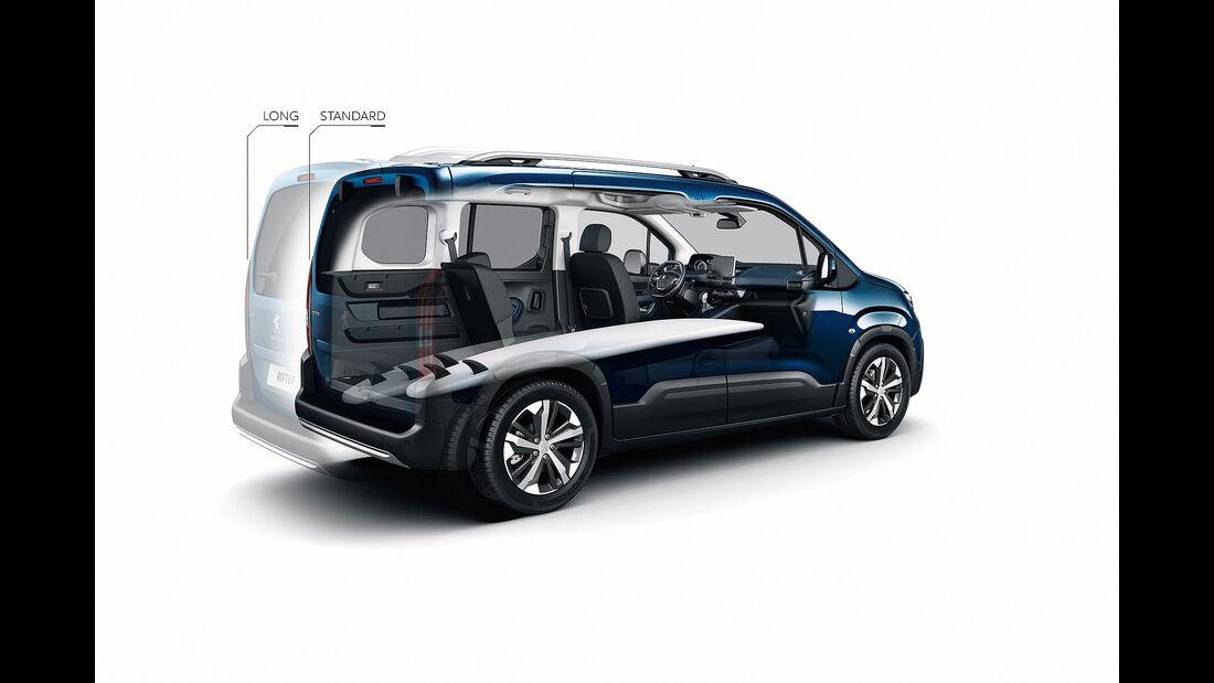 Peugeot Rifter 2018 Fünfsitzer umgeklappte Sitze