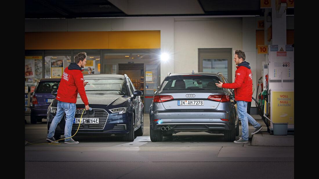 Plug-in-Hybrid gegen Benziner Audi A3