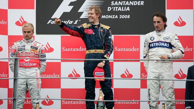 Podium - GP Italien 2008 - Heikki Kovalainen, Sebastian Vettel & Robert Kubica