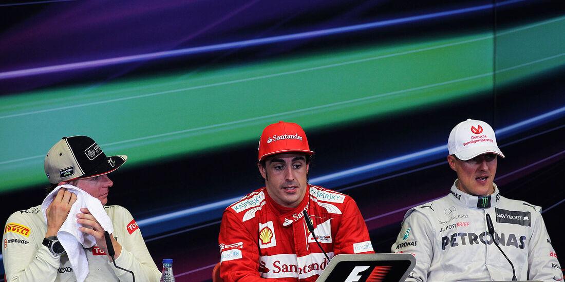 Podium Pressekonferenz GP Europa 2012 Schumacher, Räikkönen Alonso