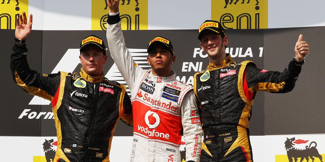 Podium Räikkönen Hamilton & Grosjean GP Ungarn 2012