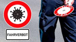 Polizei-Kontrolle, Corona, Fahrverbot