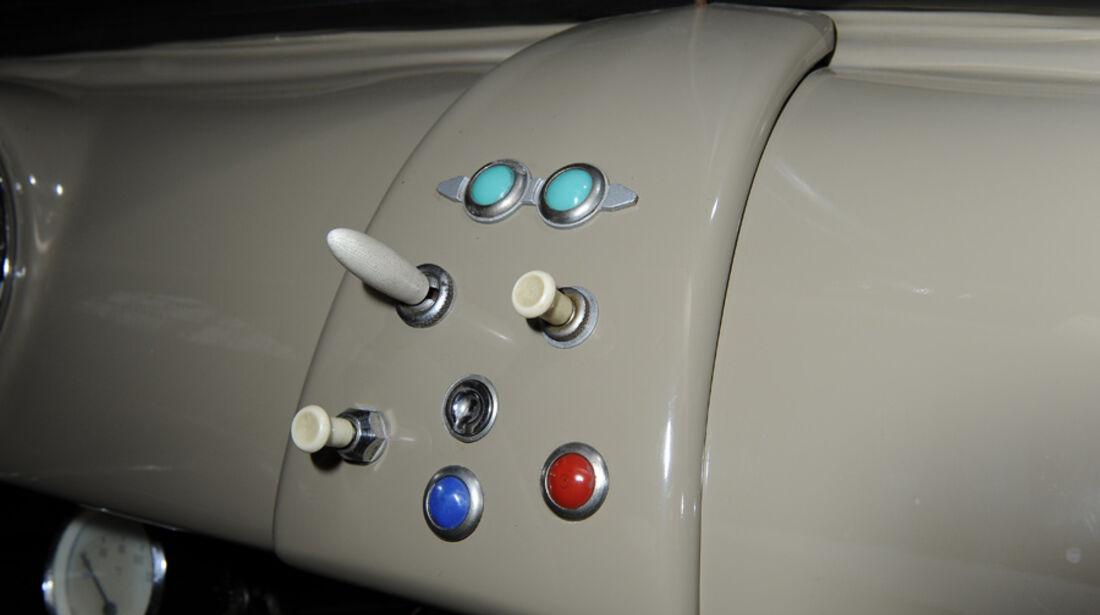 Porsche 356/2-004, Mittelkonsole, Steuerelemente