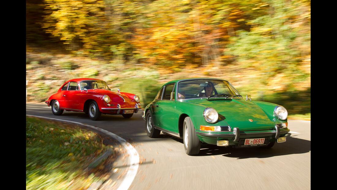Porsche 356 C, Porsche 911 T 2.4, Frontansicht