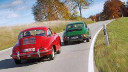 Porsche 356 C, Porsche 911 T 2.4, Heckansicht
