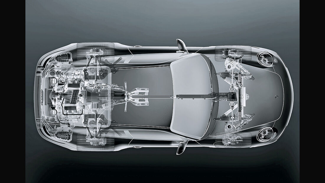 Porsche 911, Allradantrieb, technische Zeichnung