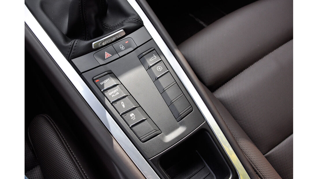 Porsche 911 Carrera, Mittelkonsole, Fahrwerkseinstellungen