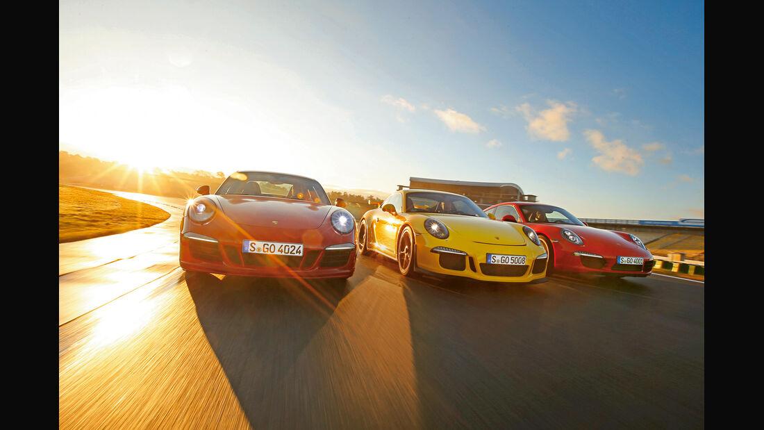 Porsche 911 Carrera S, 911 Carerra GTS, 911 GT3, Frontansicht