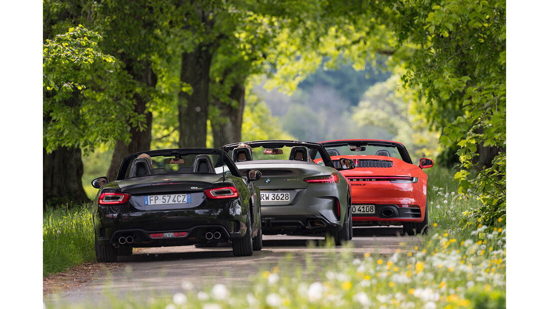 Porsche 911 Carrera S Cabrio, BMW Z4 M40i, Abarth 124 Spider, Exterieur