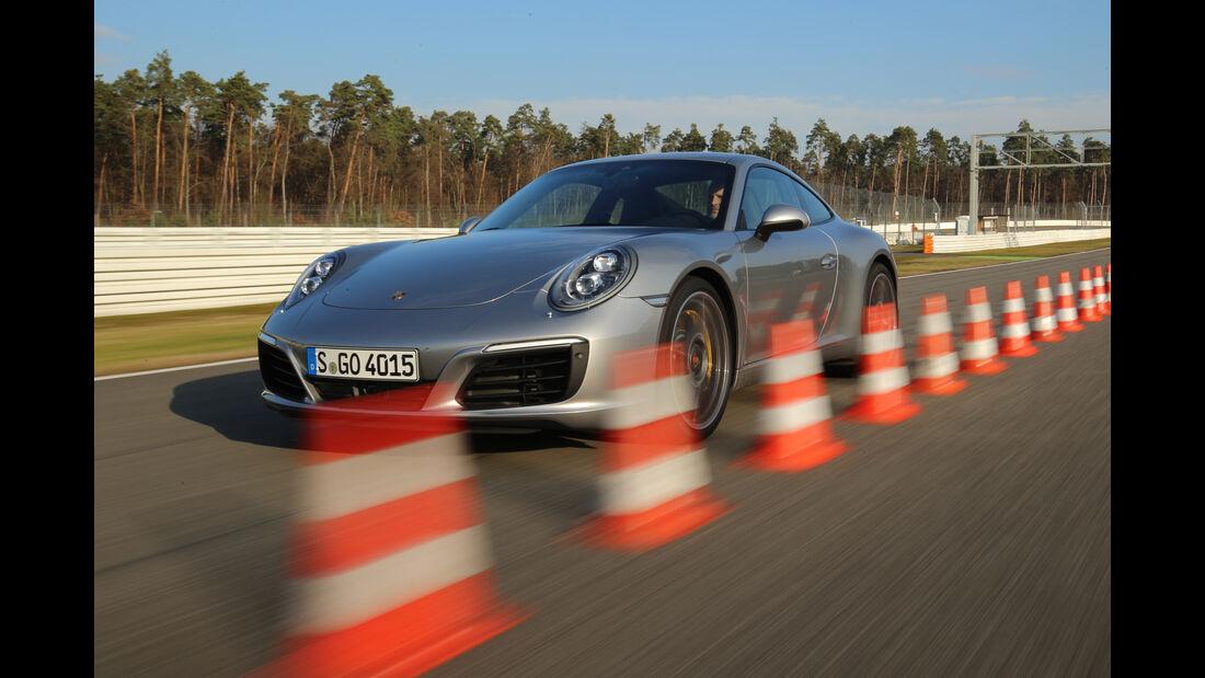 Porsche 911 Carrera S, Frontansicht, Bremstest