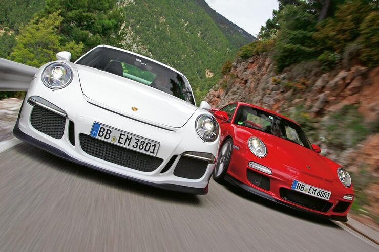 Porsche 911 GT3, 991 und 997, Frontansicht