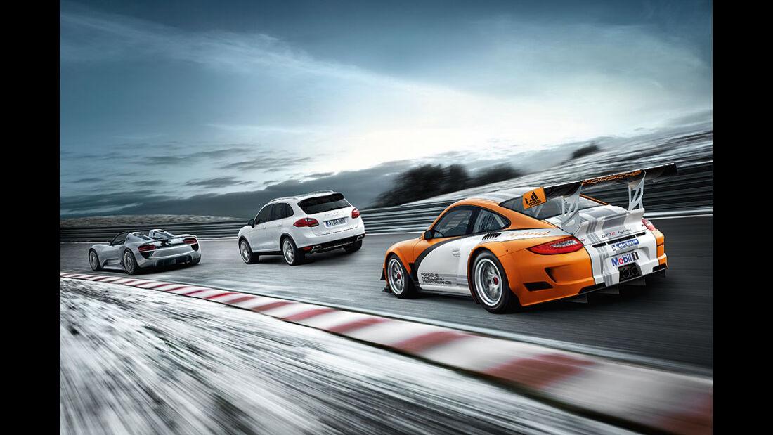 Porsche 911 GT3 R Hybrid, Cayenne Hybrid, 918