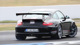 Porsche 911 GT3 RS 4.0, Heckansicht, Rückansicht, Rennstrecke, Kurvenfahrt