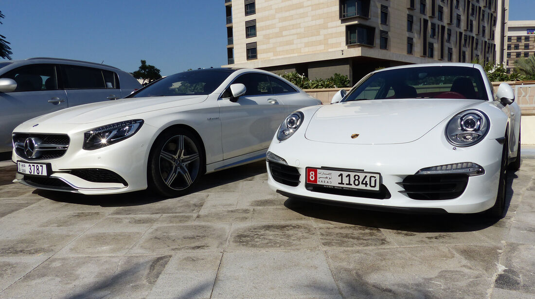 Porsche 911 & Mercedes AMG S63 Coupé - F1 Abu Dhabi 2014 - Carspotting