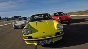 Porsche 911 T 2.0, Porsche Carrera RS 2.7, Porsche Carrera 3.2, Frontansicht