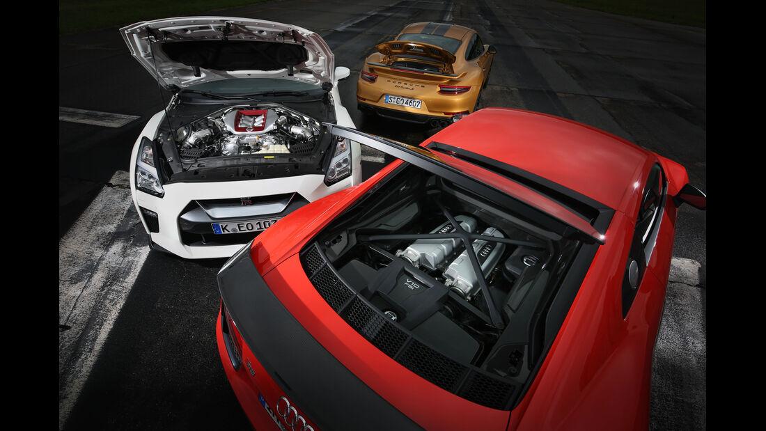 Porsche 911 Turbo S Exclusive 991 Audi R8 V10 Plus Nissan GT-R Test