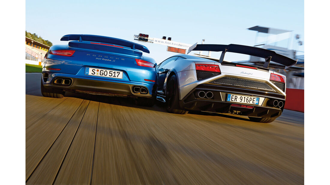 Porsche 911 Turbo S, Lamborghini Gallardo LP 570-4 Squadra Corse, Heckansicht