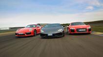 Porsche 911 Turbo S - Lamborghini Huracán - Audi R8 V10 plus - Sportwagen - sport auto 5/2016