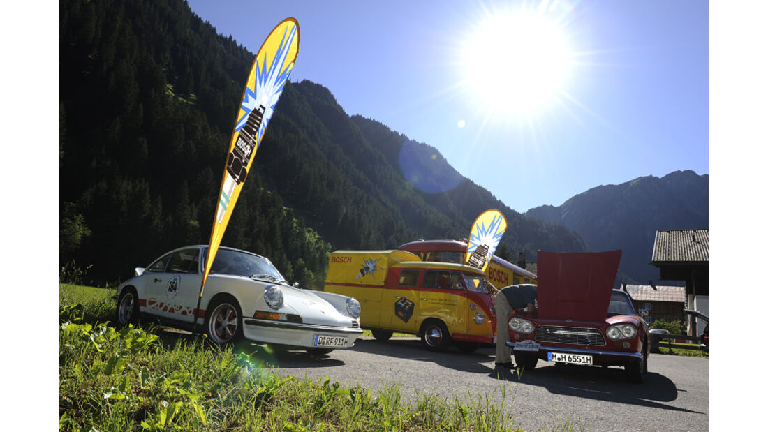 Porsche 911 und VW Bulli -  Silvretta Classic 2010