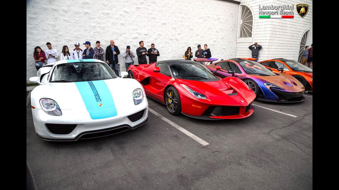 Porsche 918, Ferrari LaFerrari & McLaren P1 - Supercar Show - Lamborghini Newport Beach