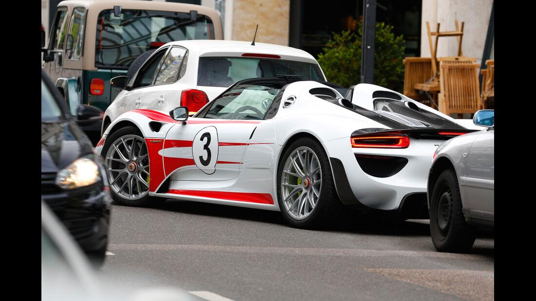 Porsche 918 Spyder, Heckansicht, Einparken