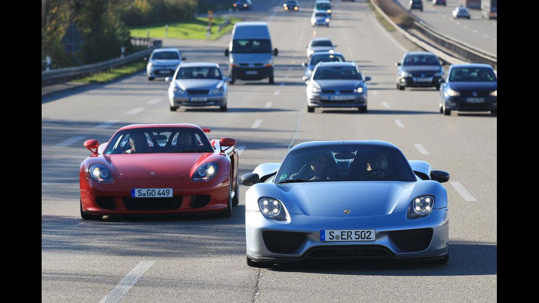 Porsche 918 Spyder, Porsche Carrera GT, Frontansicht