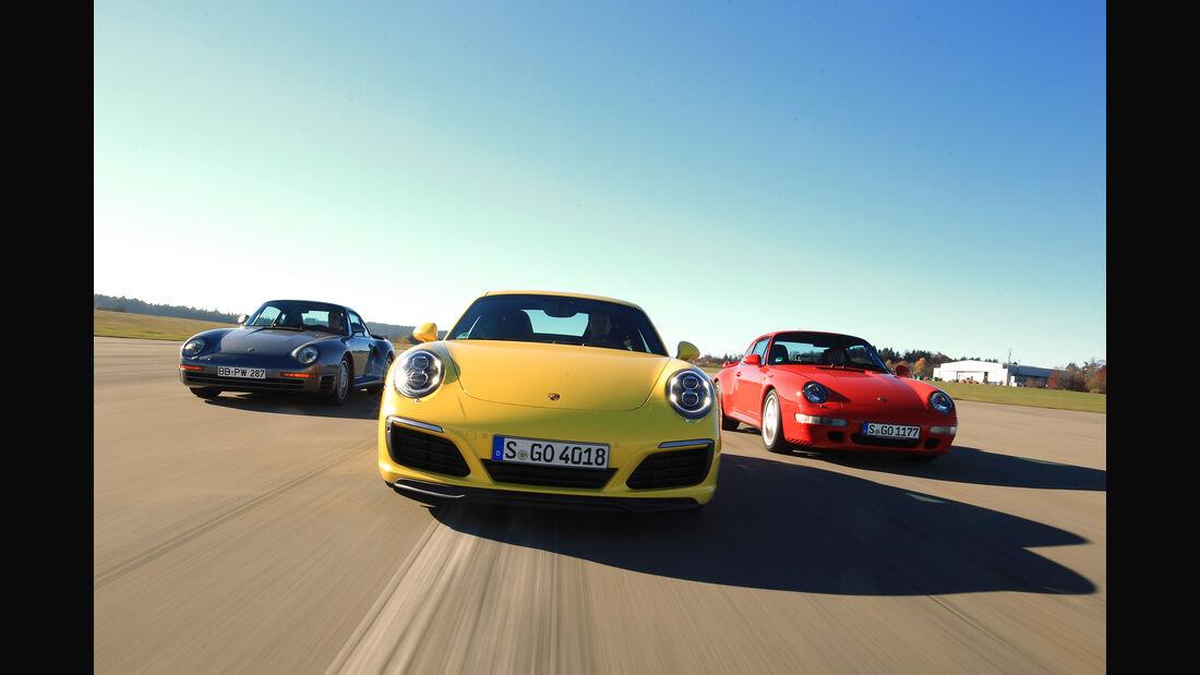 Porsche 959, 993 Turbo,  991 Carrera S, Frontansicht