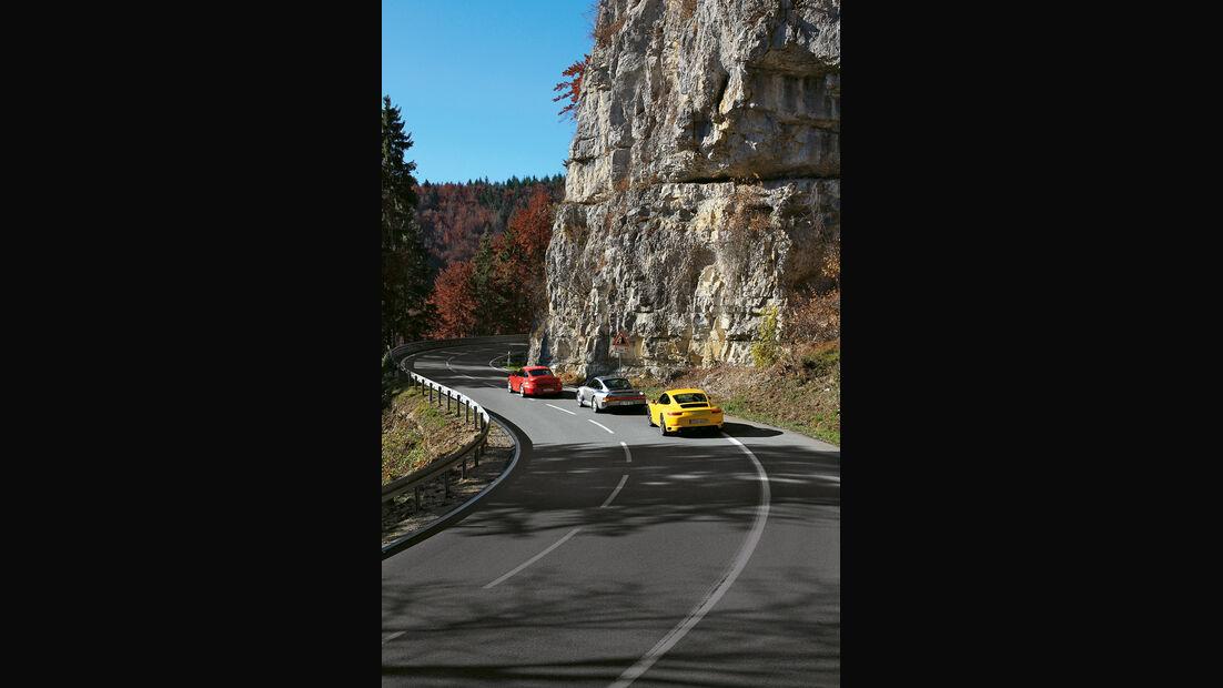 Porsche 959, 993 Turbo,  991 Carrera S, Heckansicht