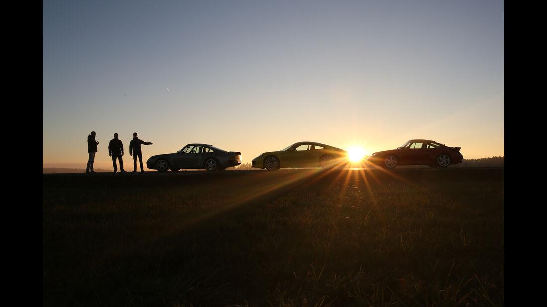 Porsche 959, 993 Turbo,  991 Carrera S, Seitenansicht