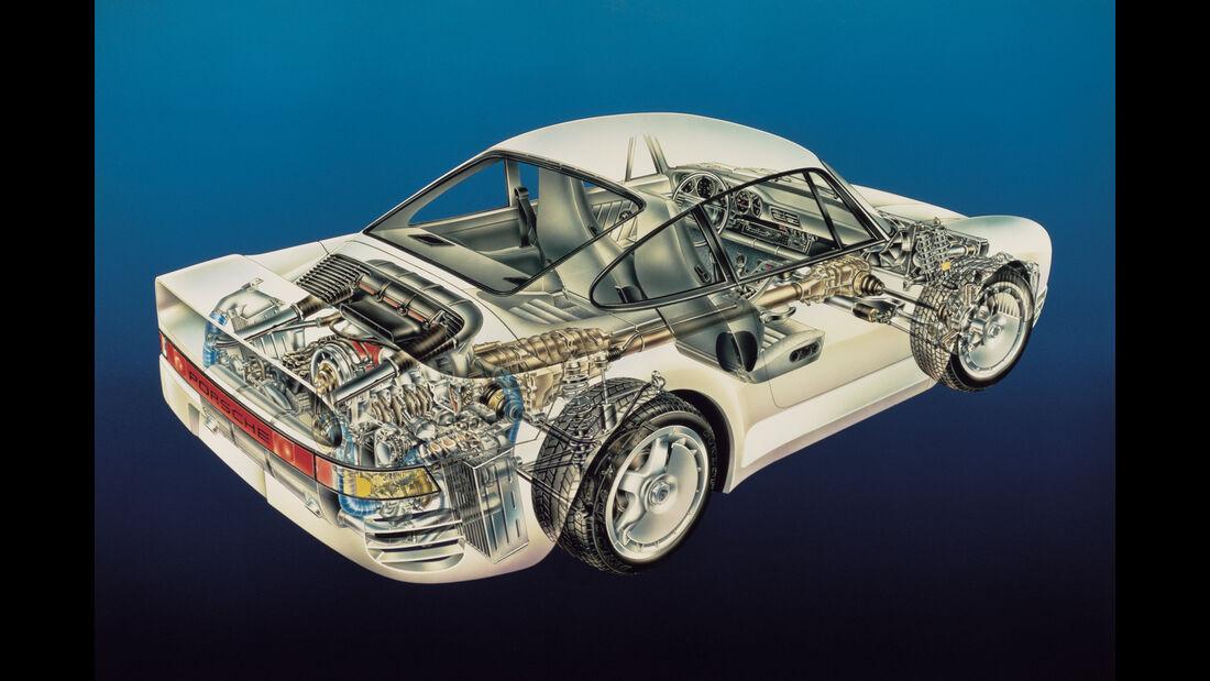 Porsche 959 Explosionszeichnung