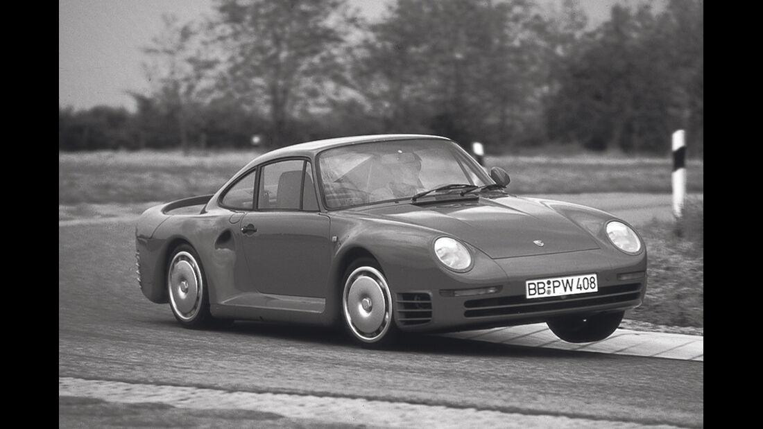 Porsche 959, Seitenansicht, Kurvenfahrt