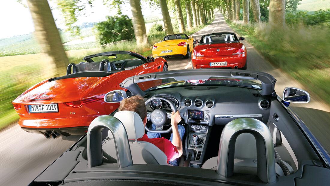 Porsche Boxster, Jaguar F-Type, Audi TT RS, BMW Z4, Fahrt