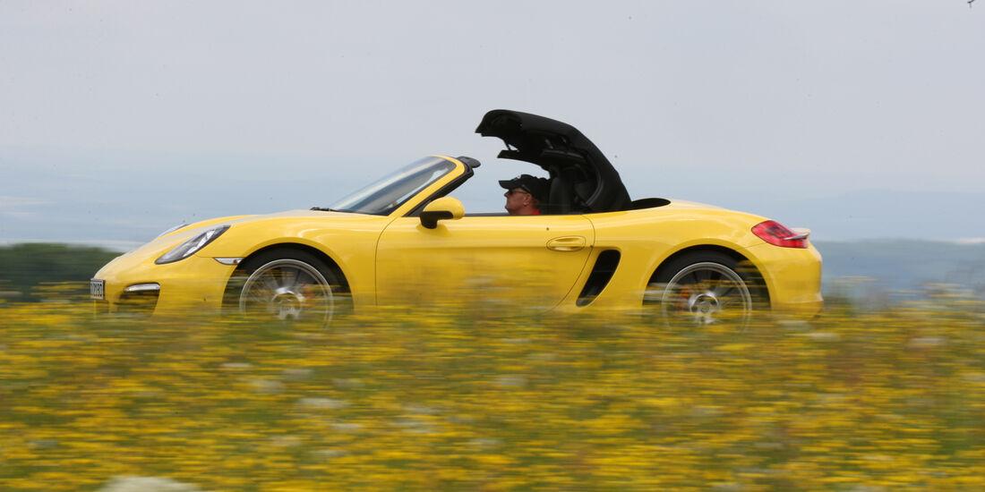 Porsche Boxster S, Seitenansicht, Verdeck öffnet