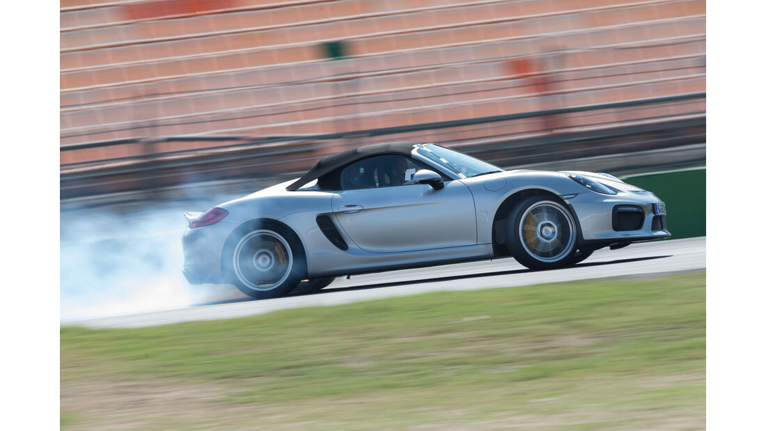 Porsche Boxster Spyder, Seitenansicht, Driften