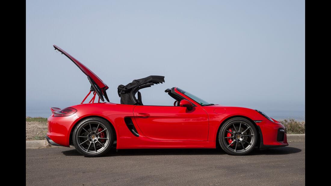 Porsche Boxster Spyder, Seitenansicht, Verdeck schließt