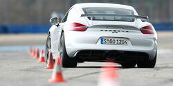Porsche Cayman GT4, Heckansicht, Slalom